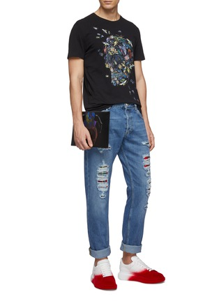 Figure View - Click To Enlarge - ALEXANDER MCQUEEN - Tartan plaid panel rip-and-repair jeans