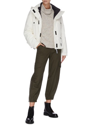 Figure View - Click To Enlarge - ARMY BY YVES SALOMON - 'Bachette' reversible quilted hooded jacket
