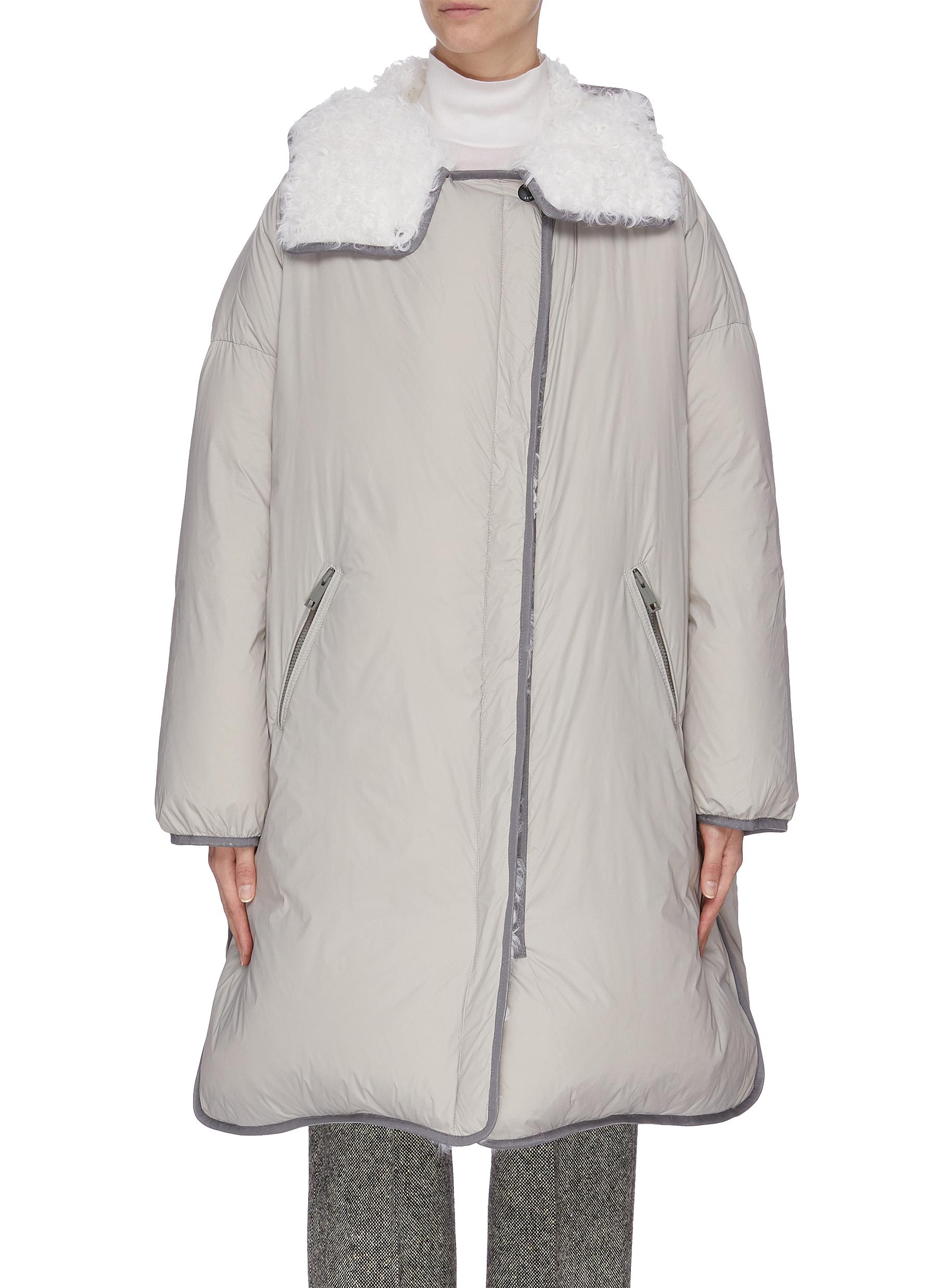 Contrast lining lambskin fur trim puffer jacket by Army By Yves Salomon