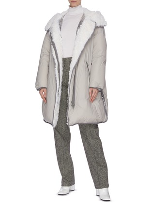 Figure View - Click To Enlarge - ARMY BY YVES SALOMON - Contrast lining lambskin fur trim puffer jacket