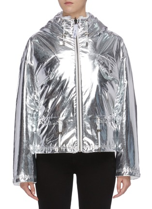 Main View - Click To Enlarge - ARMY BY YVES SALOMON - Reversible rabbit fur metallic hooded jacket