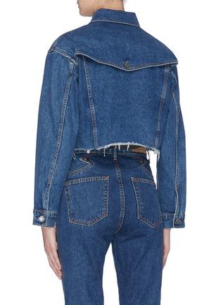 Back View - Click To Enlarge - GRLFRND - 'Faye' raw edge cropped denim jacket