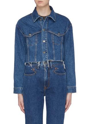 Main View - Click To Enlarge - GRLFRND - 'Faye' raw edge cropped denim jacket