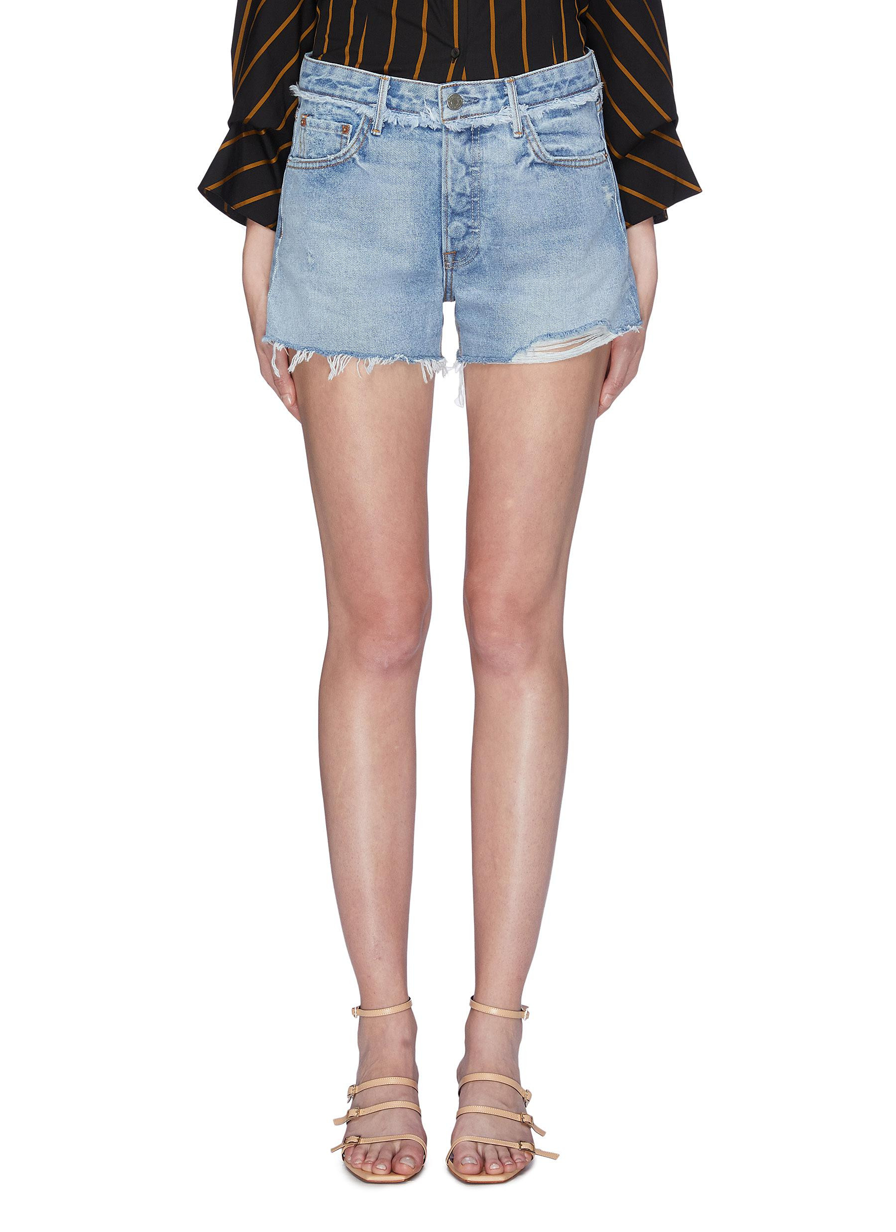 Helena raw cuff denim shorts by Grlfrnd