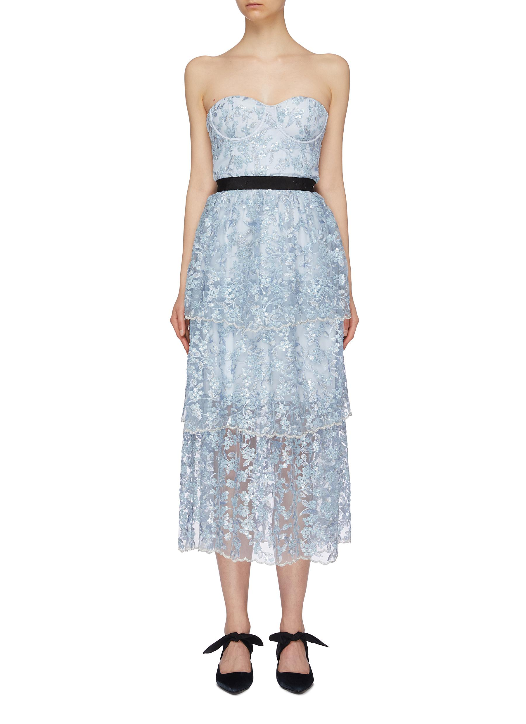 Sequin floral tiered mesh strapless midi dress by Self-Portrait
