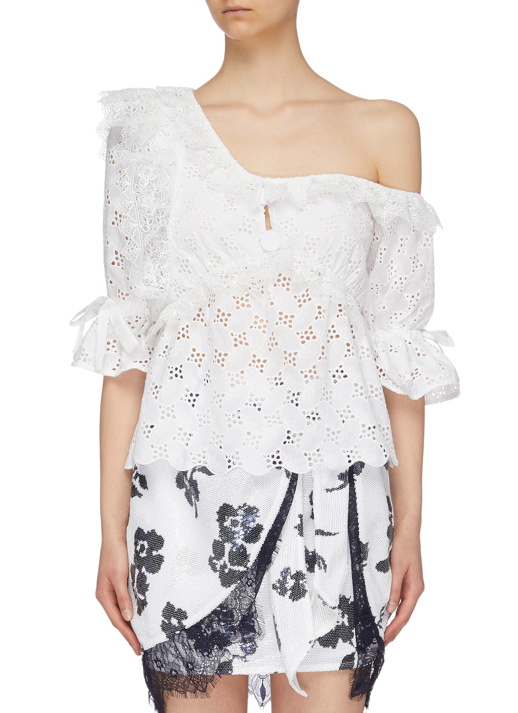 Bow cuff ruffle leaf broderie anglaise one-shoulder top by Self-Portrait