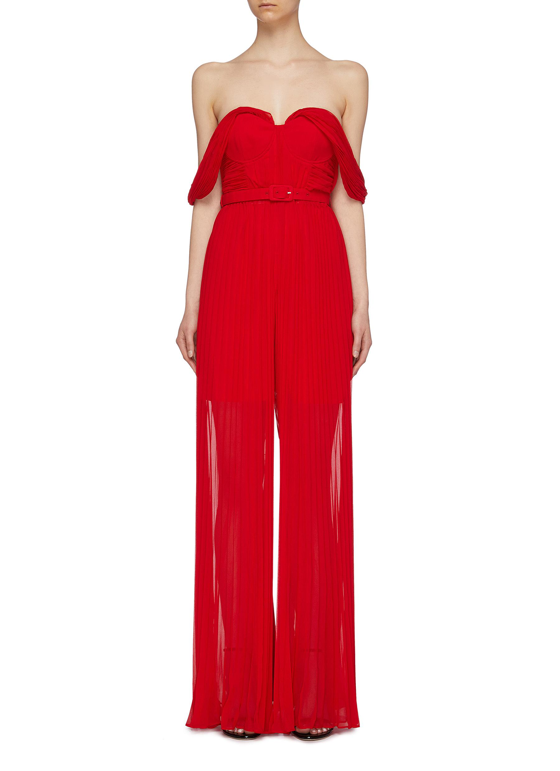 Belted pleated chiffon off-shoulder wide leg jumpsuit by Self-Portrait