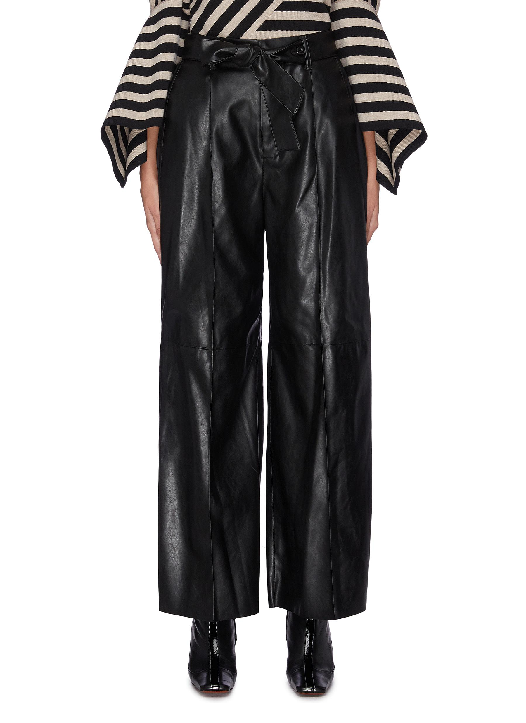 Sash belted leather wide leg pants by Akira Naka