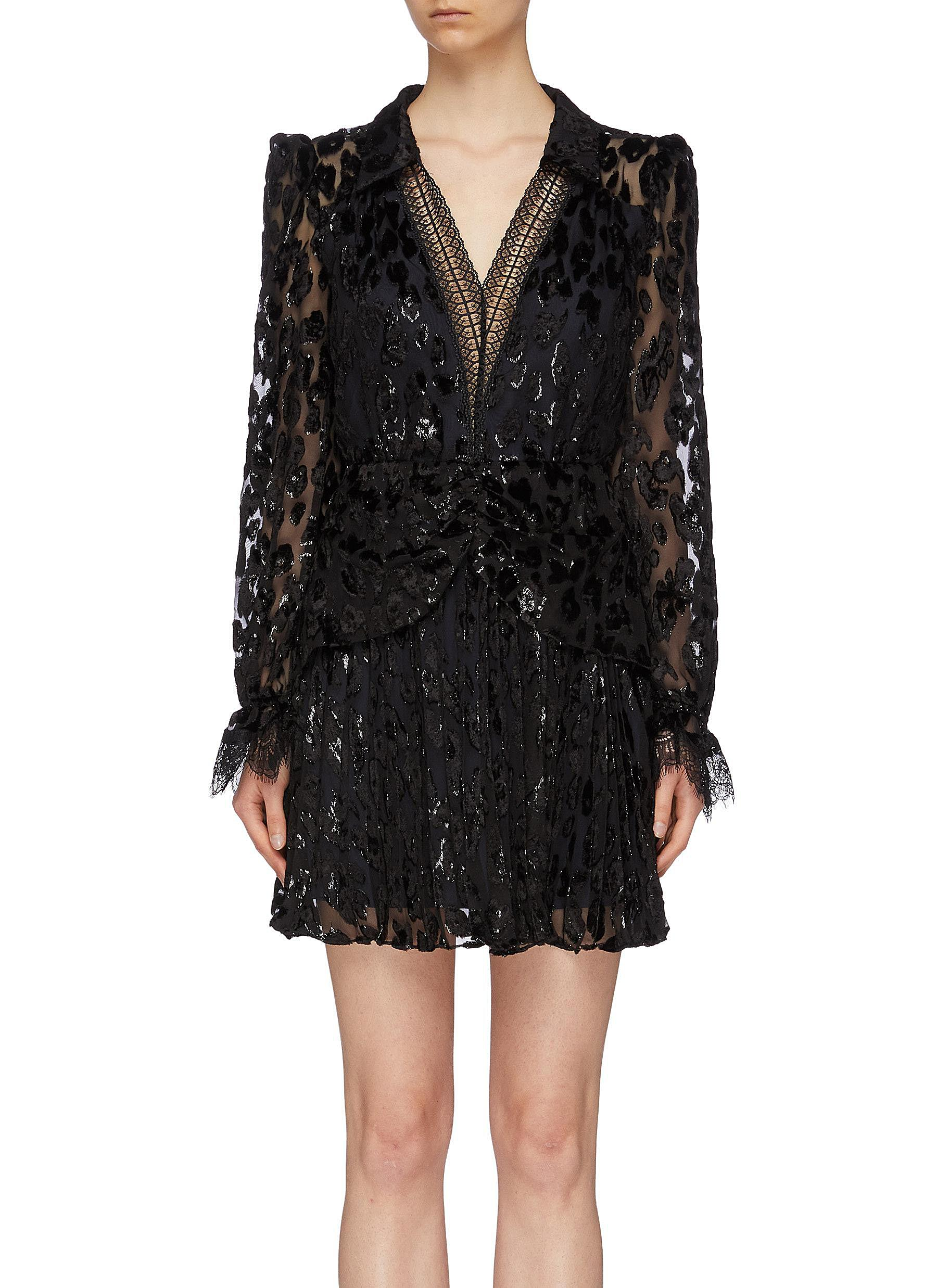 Lace trim pleated metallic leopard devoré V-neck mini dress by Self-Portrait