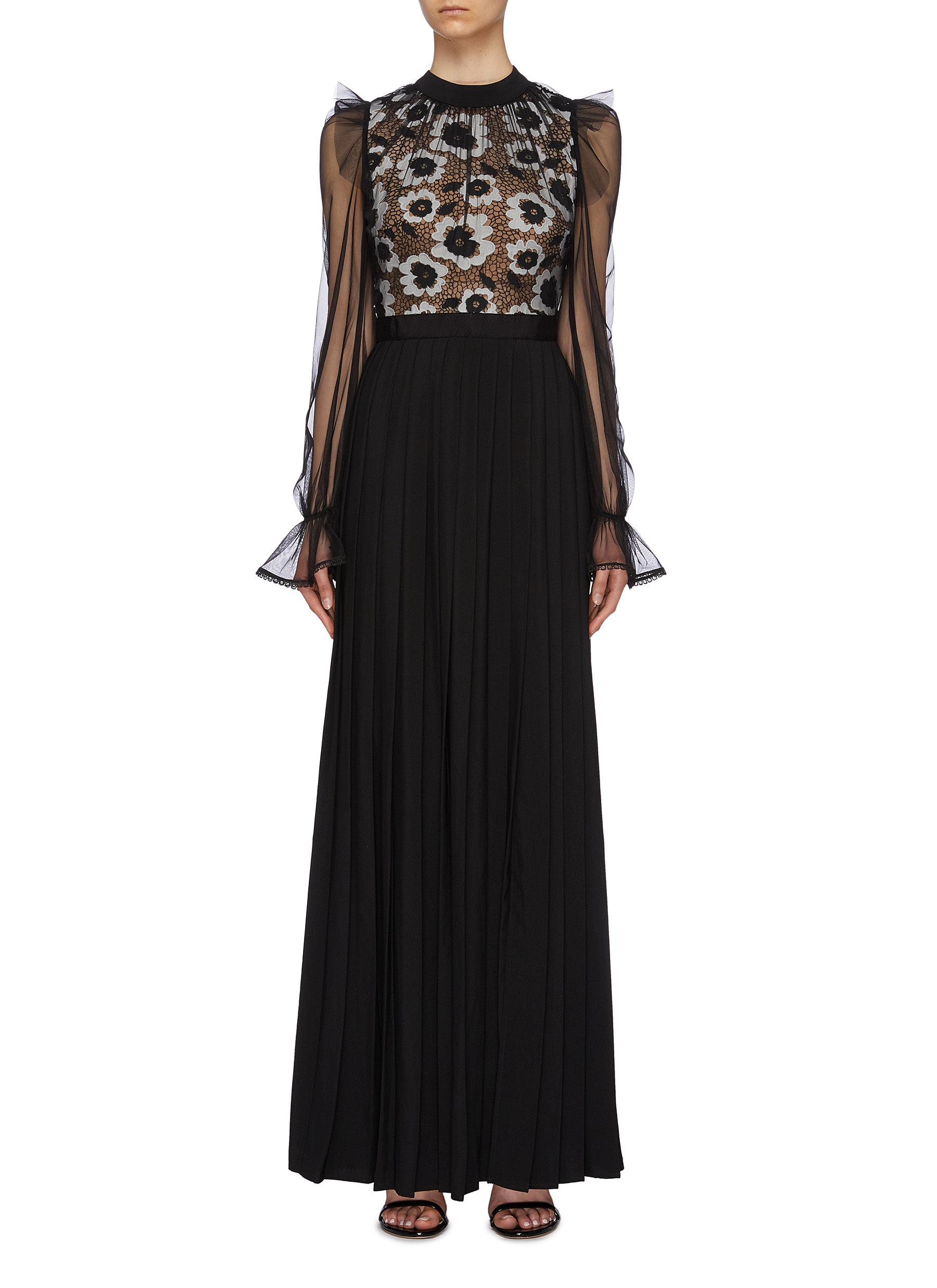 Organdy overlay floral guipure lace panel maxi dress by Self-Portrait