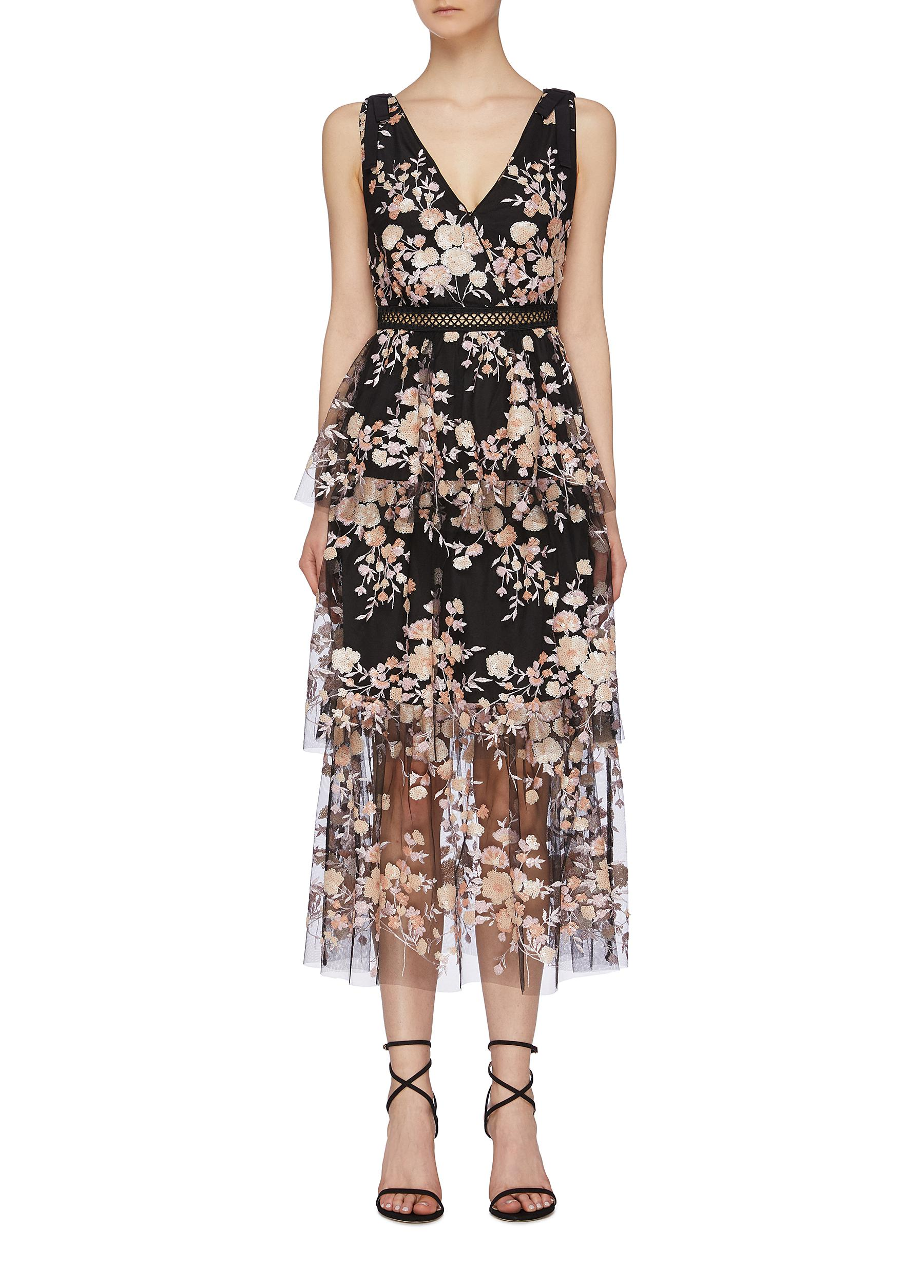 Sequin floral mesh tiered sleeveless dress by Self-Portrait