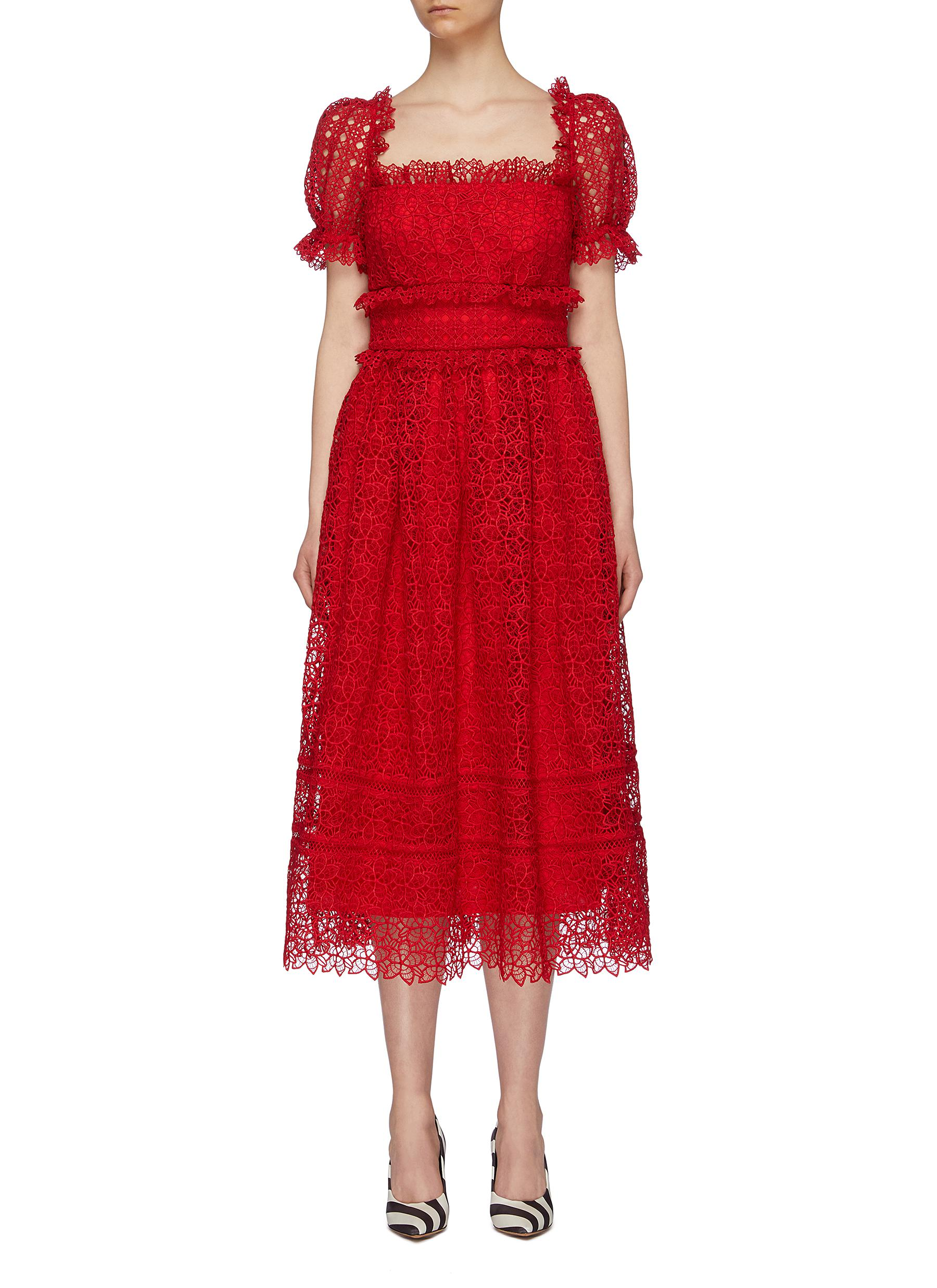 Puff sleeve ruffle trim flared guipure lace midi dress by Self-Portrait