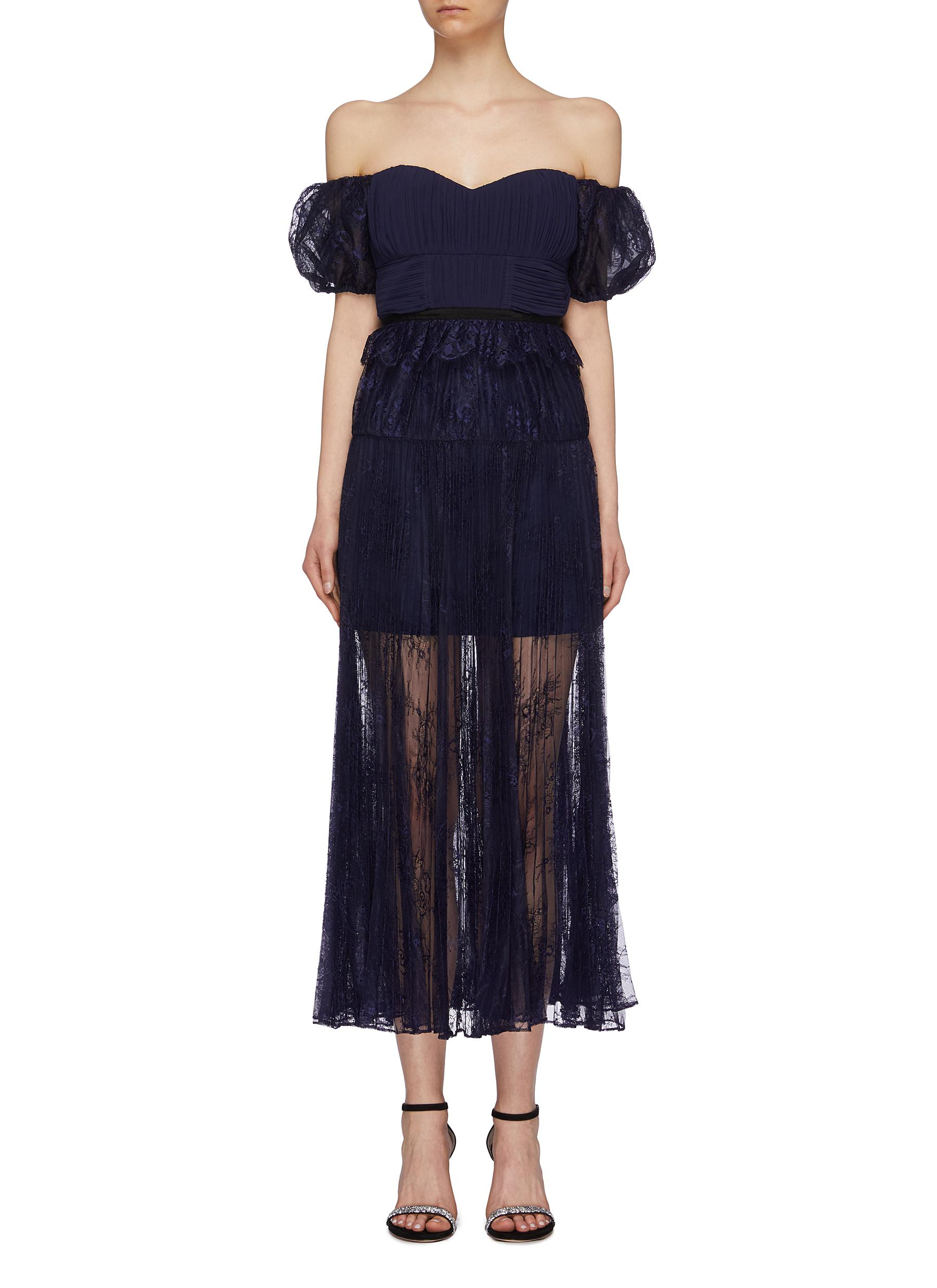 Pleated chantilly lace off-shoulder dress by Self-Portrait