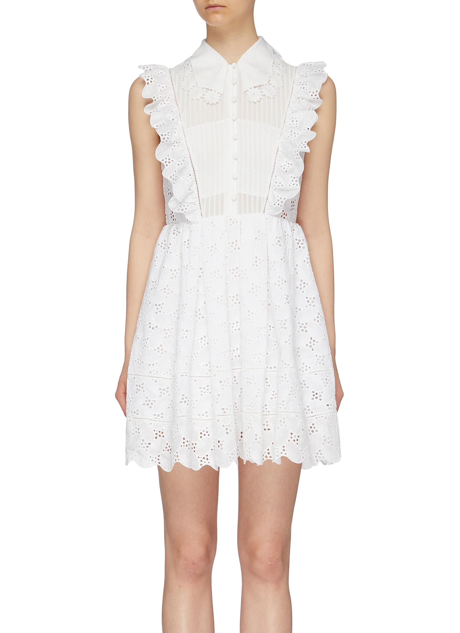 Pleated bib ruffle leaf broderie anglaise mini dress by Self-Portrait