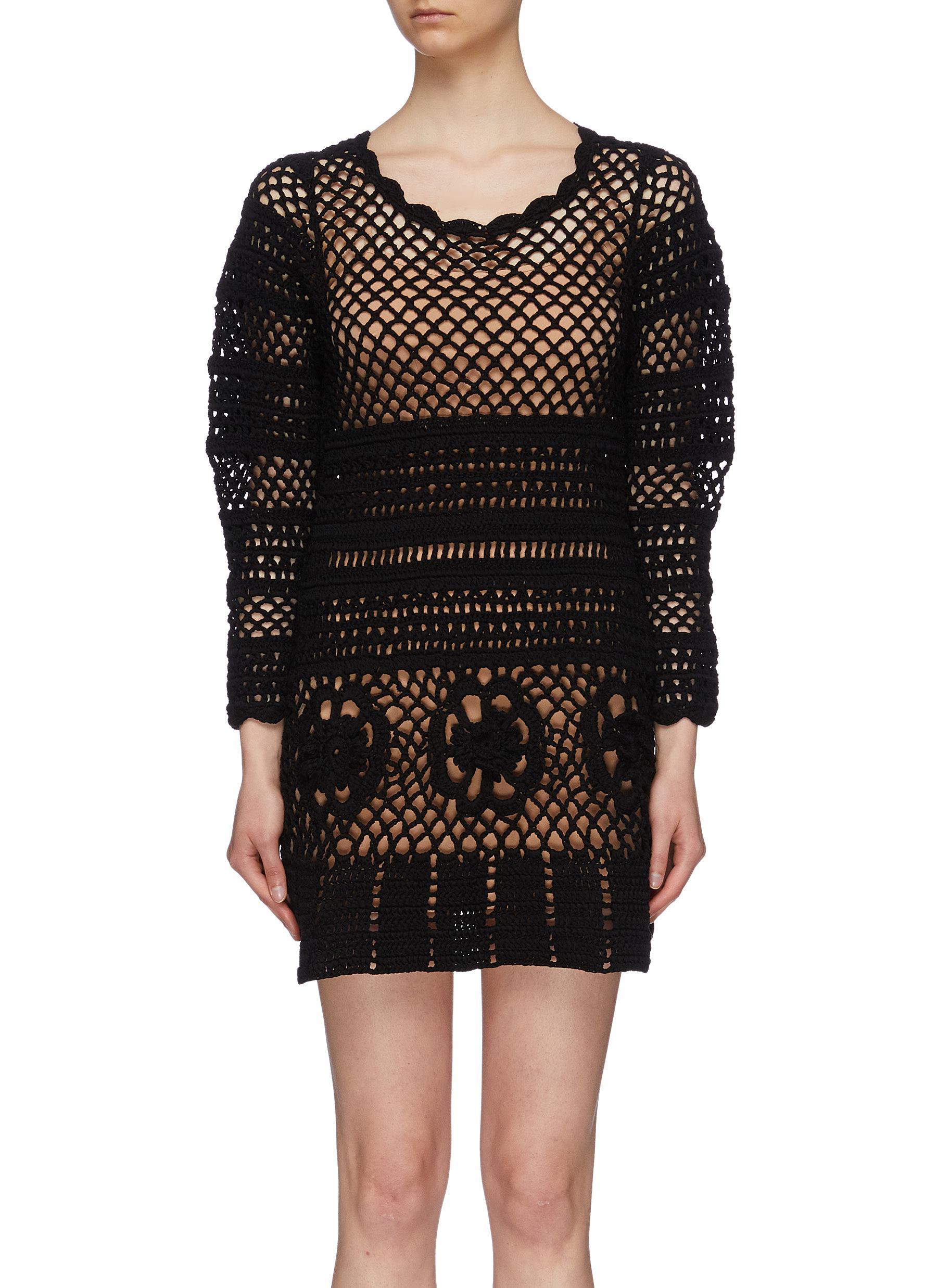 Crochet knit tunic dress by Self-Portrait