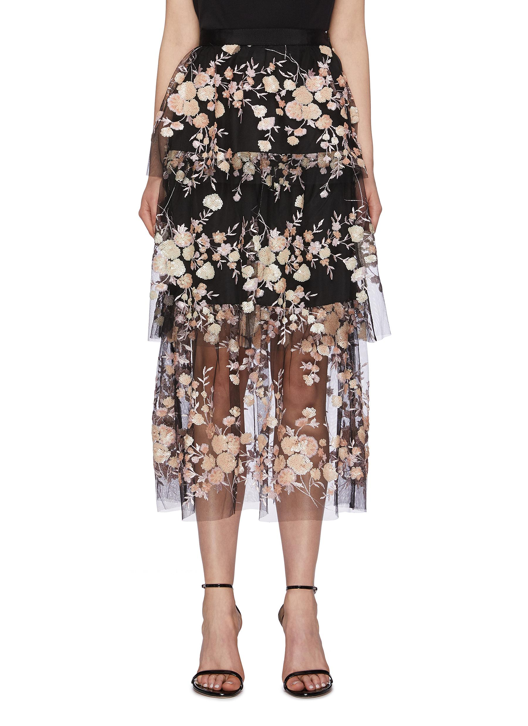 Sequin floral mesh tiered skirt by Self-Portrait