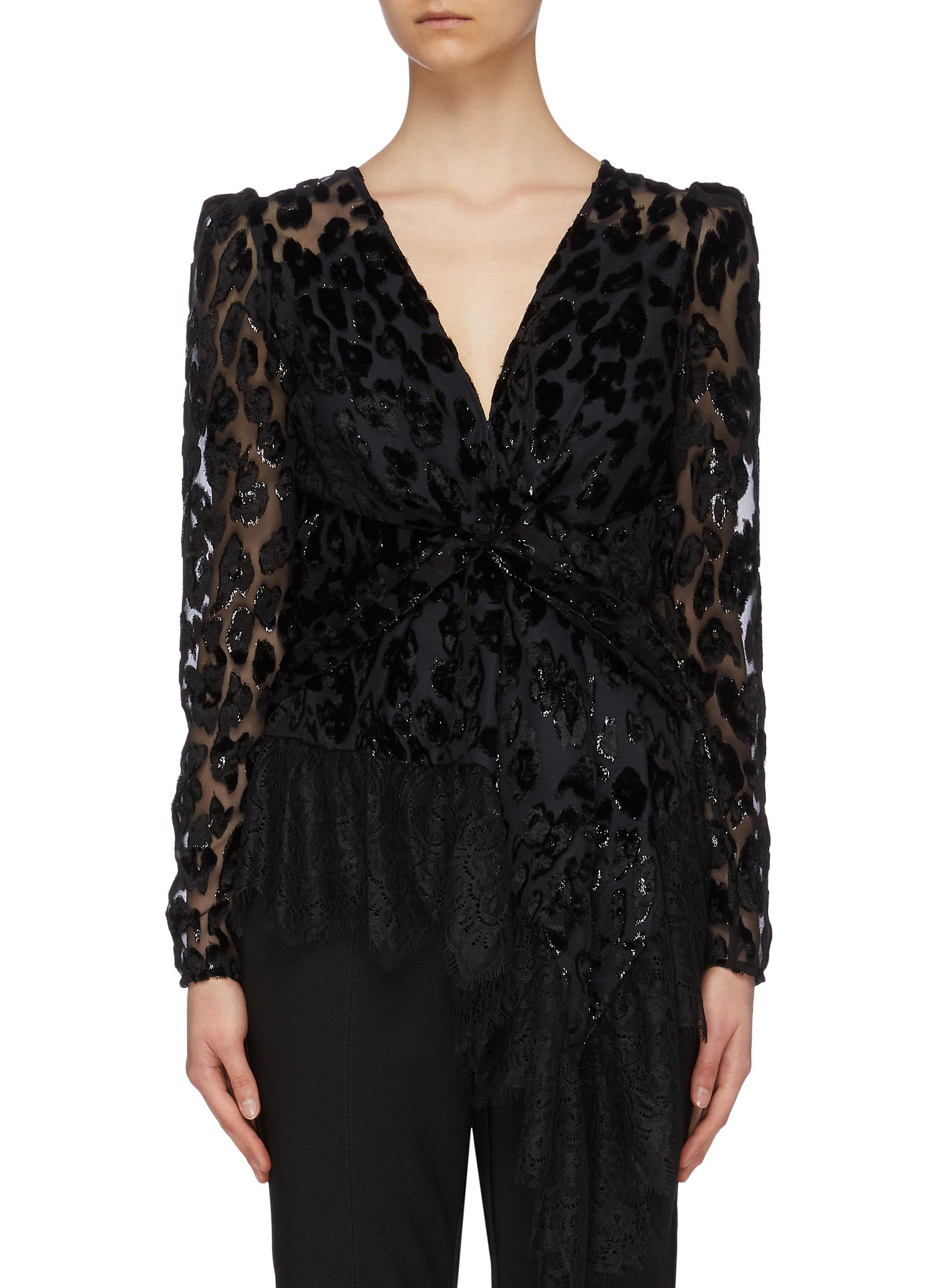 Lace trim twist front leopard devoré peplum top by Self-Portrait