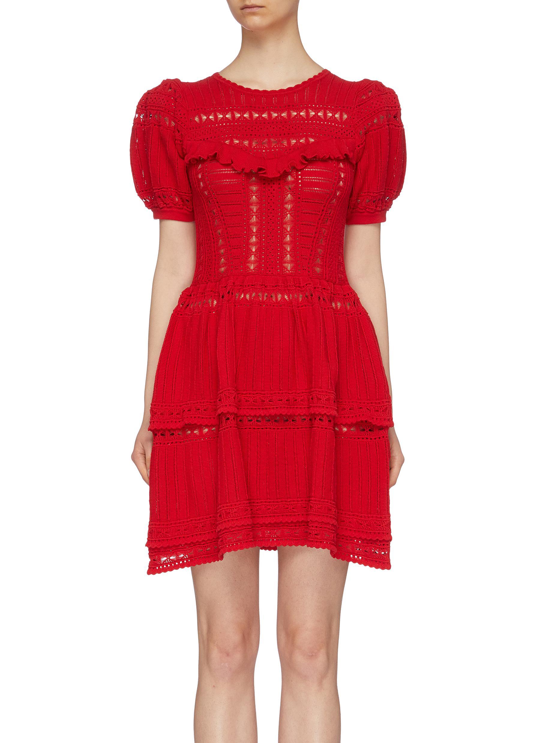 Puff sleeve ruffle yoke tiered pointelle knit mini dress by Self-Portrait