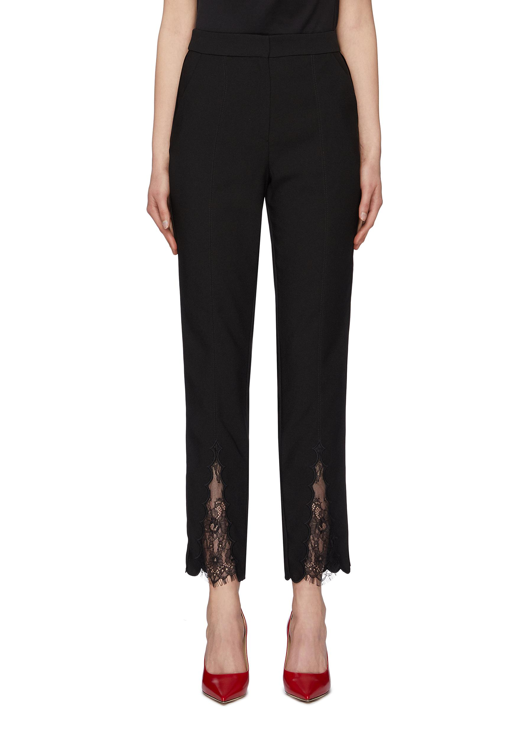 Chantilly lace panel scalloped cuff crepe pants by Self-Portrait