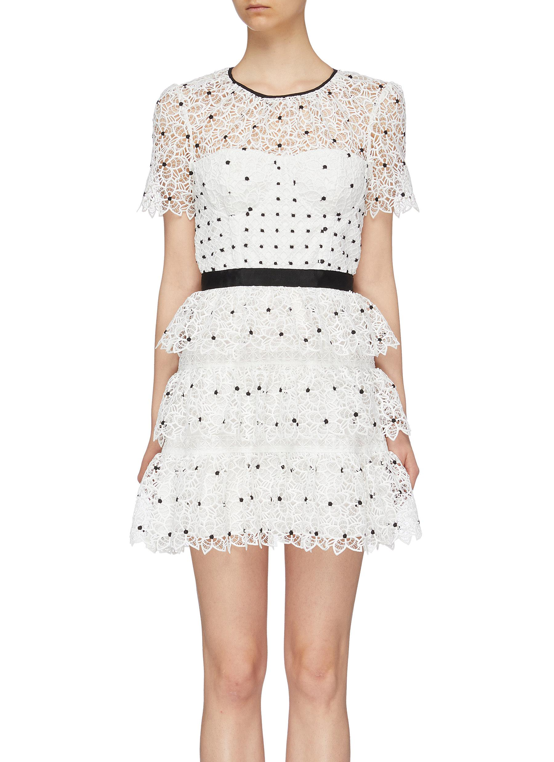 Guipure lace tiered mini dress by Self-Portrait