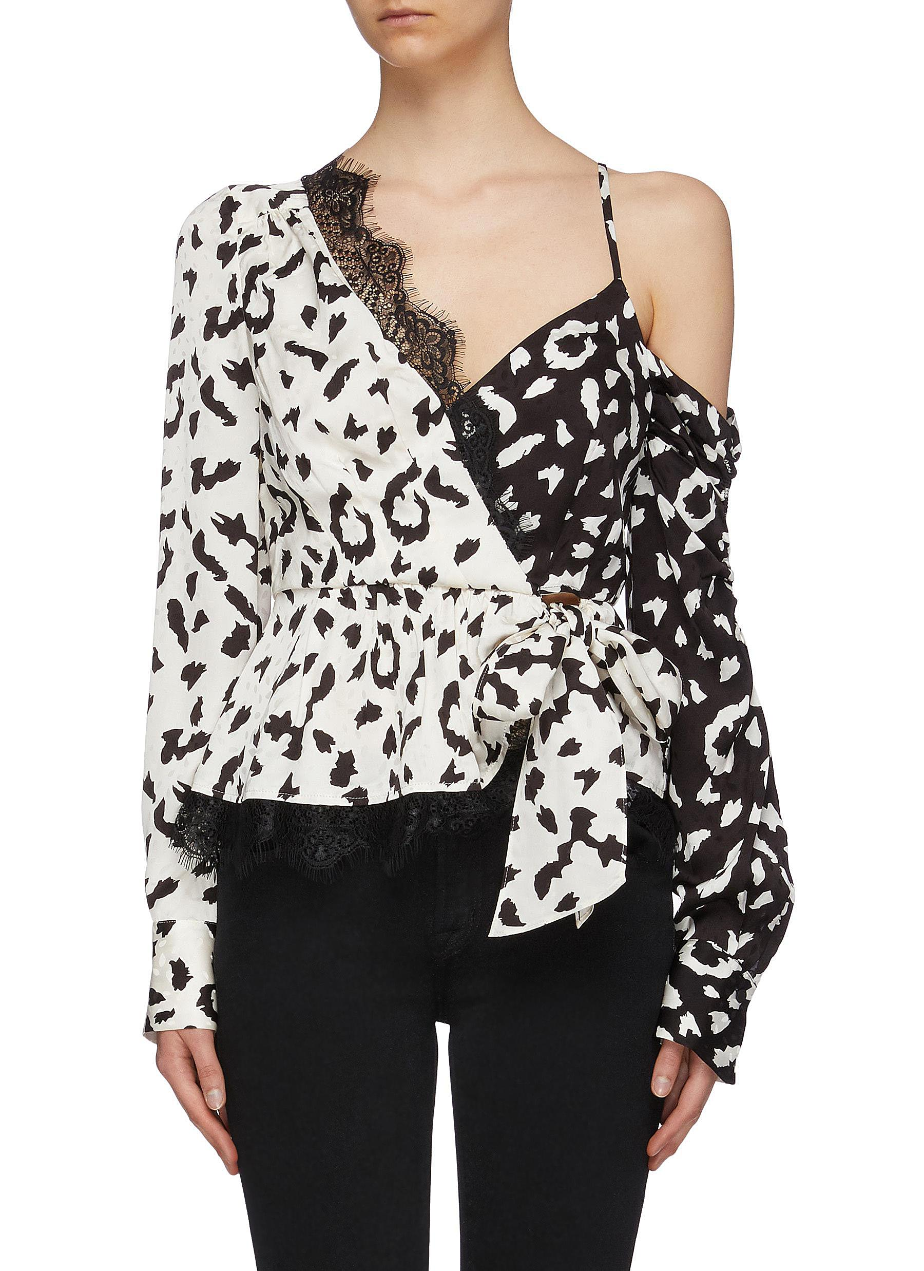 Lace trim leopard print one-shoulder mock wrap top by Self-Portrait