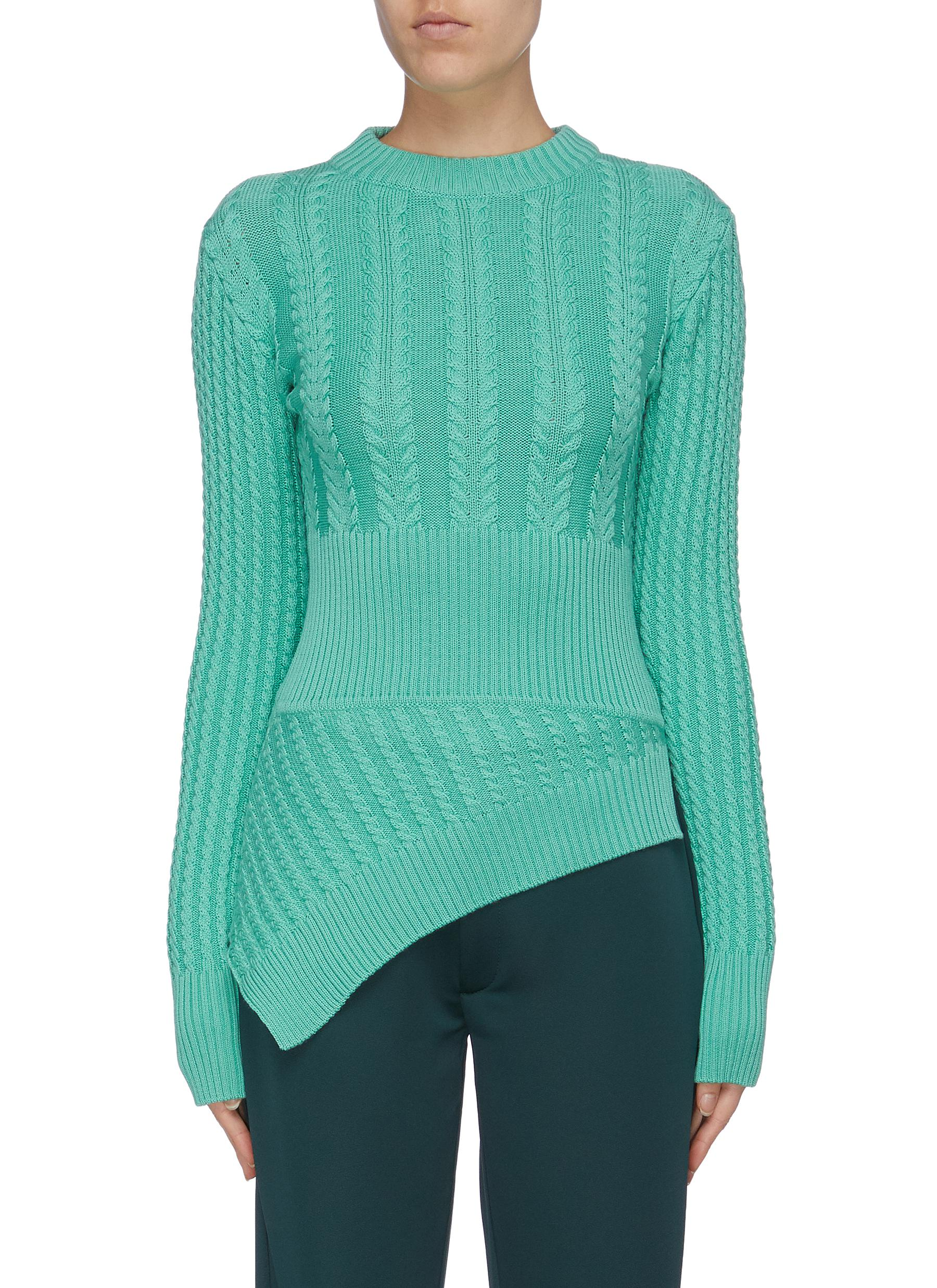 The Rufus asymmetric Merino wool cable knit peplum sweater by Maggie Marilyn