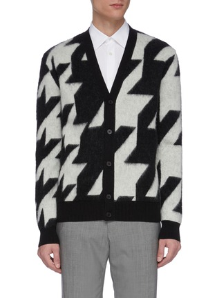 Main View - Click To Enlarge - ALEXANDER MCQUEEN - Geometric jacquard houndstooth cardigan