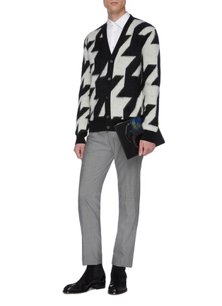 Figure View - Click To Enlarge - ALEXANDER MCQUEEN - Geometric jacquard houndstooth cardigan