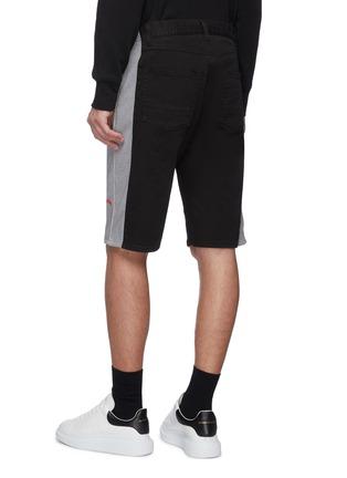 Back View - Click To Enlarge - ALEXANDER MCQUEEN - Colourblock jersey outseam denim shorts