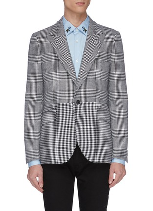 Main View - Click To Enlarge - ALEXANDER MCQUEEN - Peaked lapel houndstooth check plaid blazer