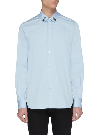 Main View - Click To Enlarge - ALEXANDER MCQUEEN - Rose embroidered collar shirt