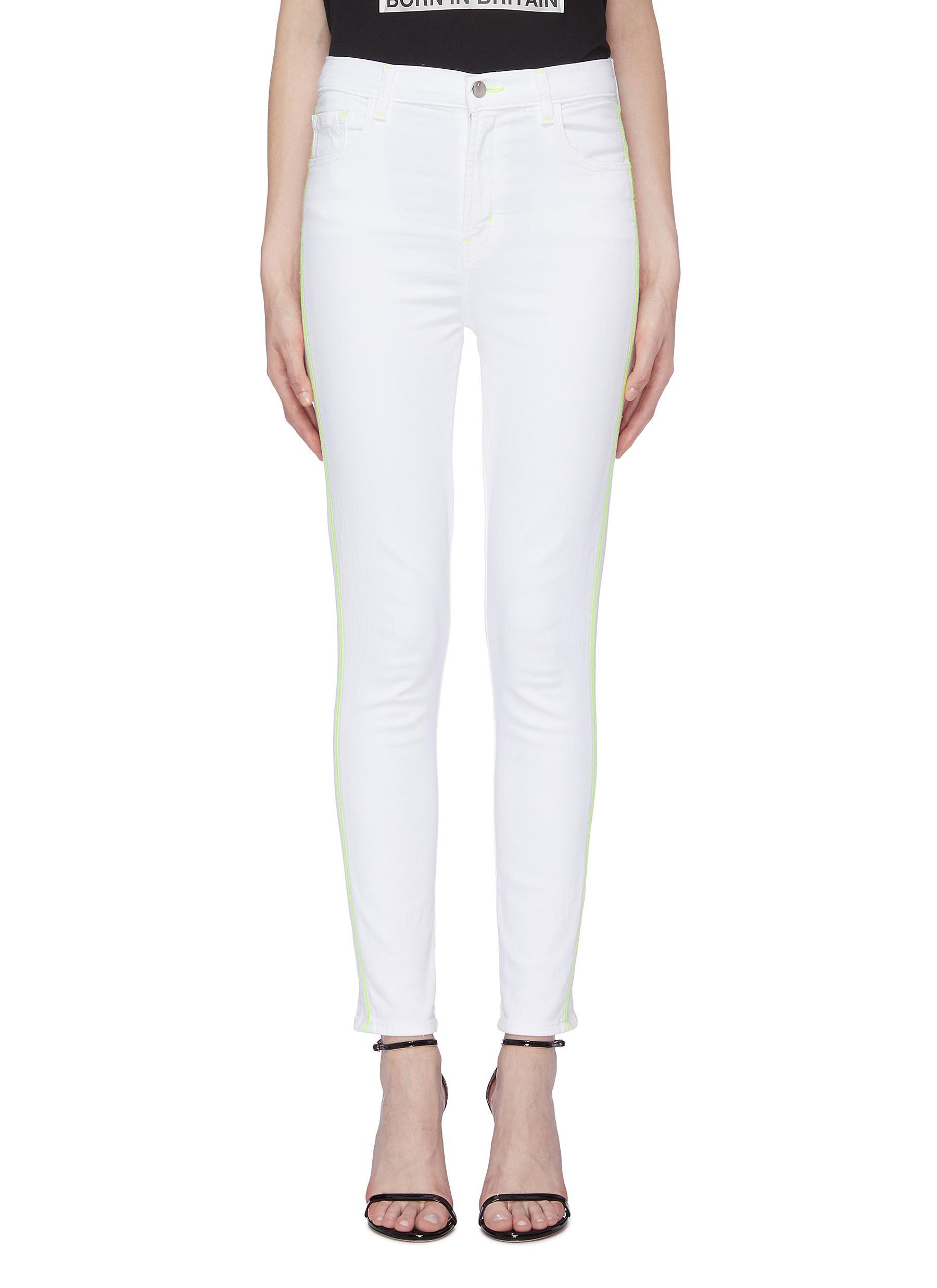 Leenah stripe outseam skinny jeans by J Brand