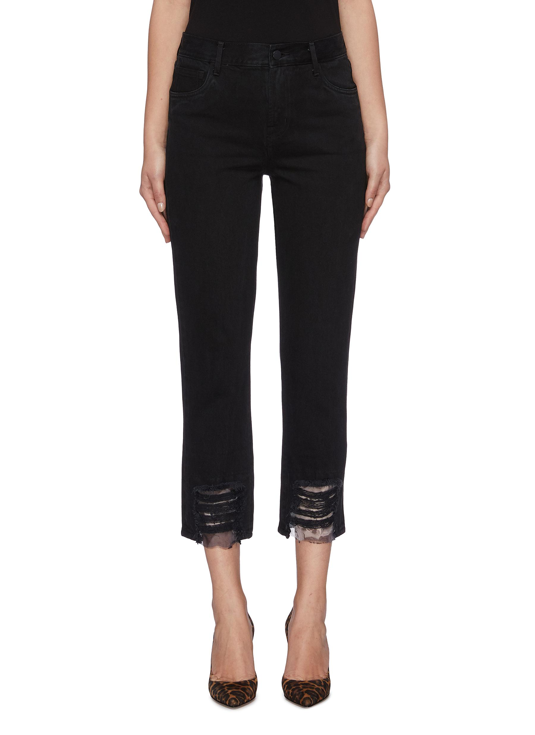 Ruby organdy panelled ripped cuff cigarette jeans by J Brand