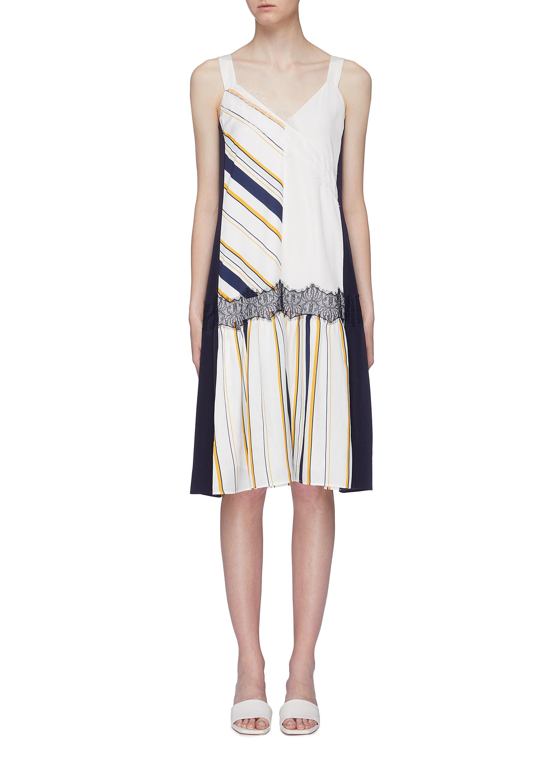 Lace trim colourblock variegated stripe patchwork dress by Comme Moi