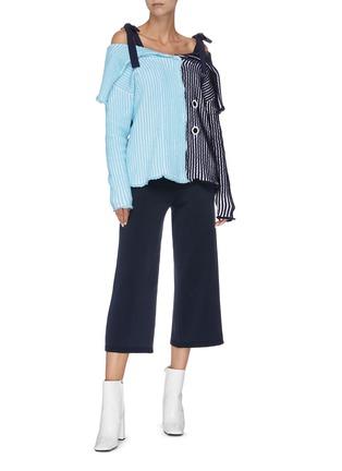 Figure View - Click To Enlarge - PH5 - Colourblock stripe cold shoulder cardigan