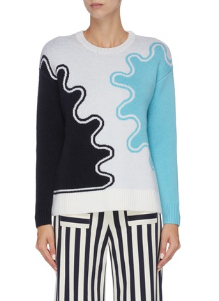 Main View - Click To Enlarge - PH5 - Wave print colourblock sweater