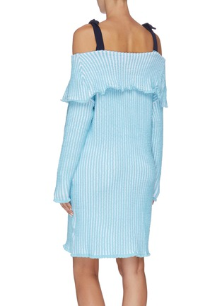 Back View - Click To Enlarge - PH5 - Folded panel stripe cold shoulder knit dress