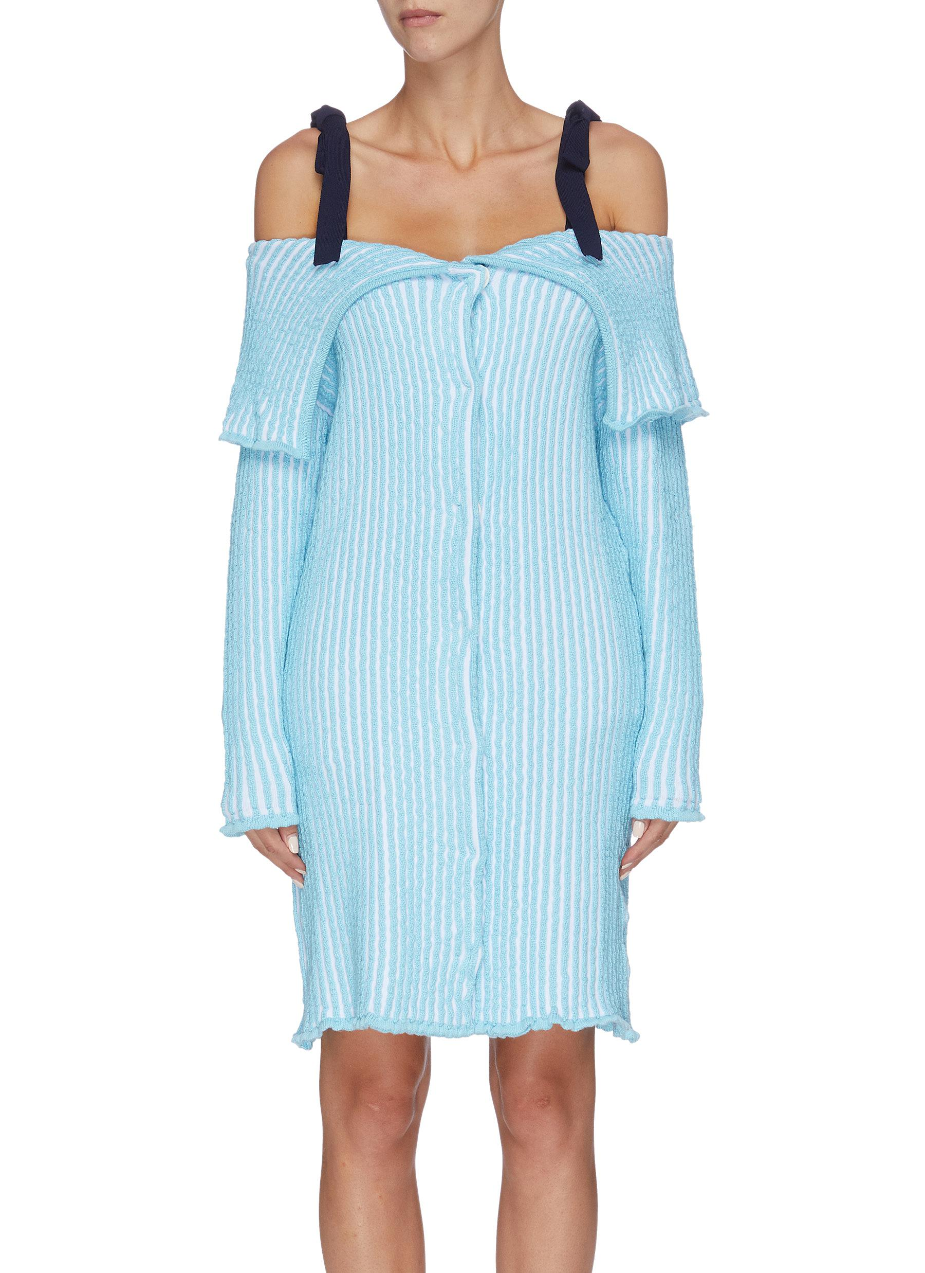 Folded panel stripe cold shoulder knit dress by Ph5