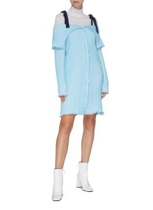 Figure View - Click To Enlarge - PH5 - Folded panel stripe cold shoulder knit dress