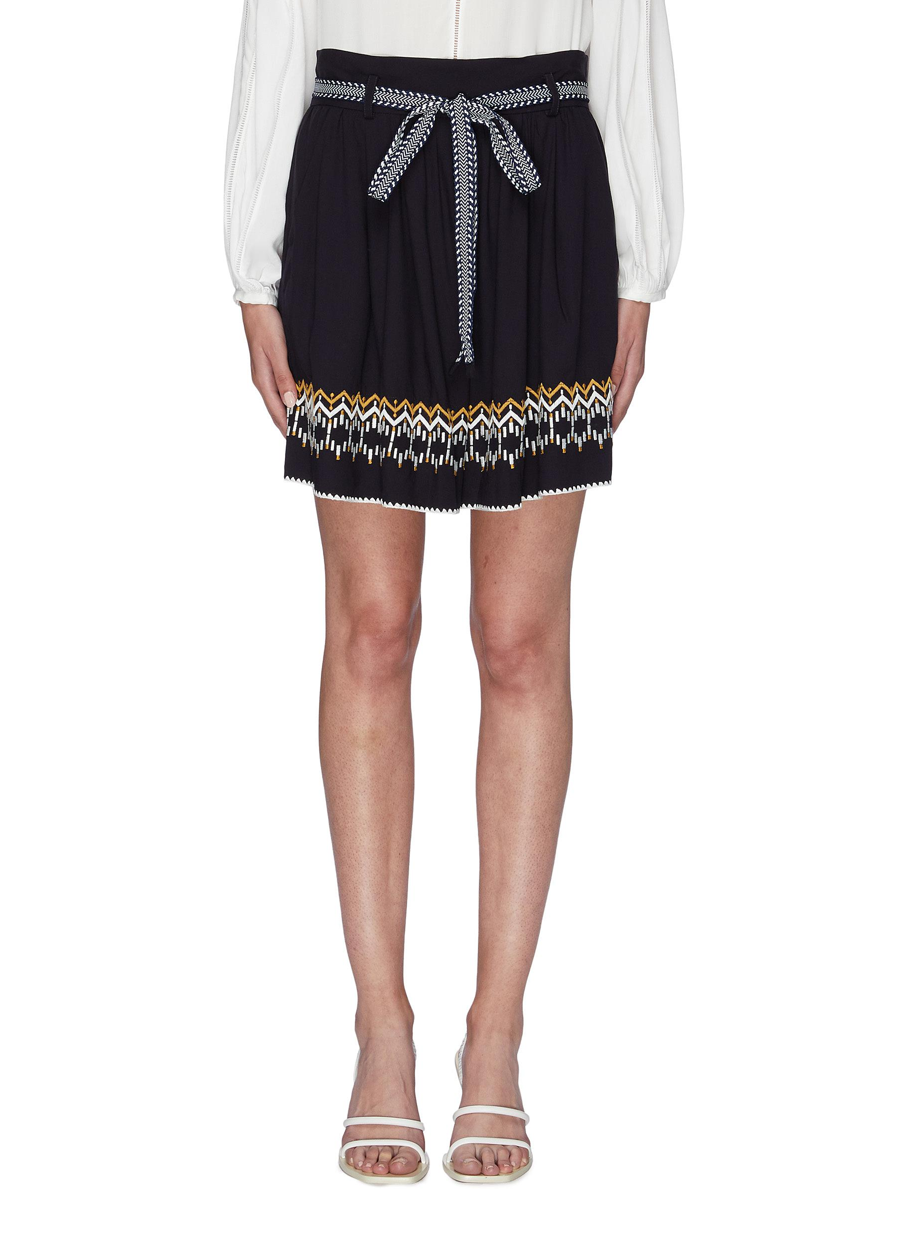 Belted tribal embroidered paperbag shorts by Comme Moi
