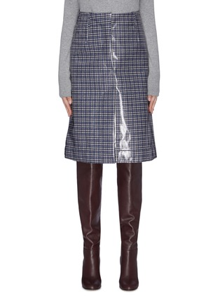 Main View - Click To Enlarge - CÉDRIC CHARLIER - Check plaid print vinyl midi skirt