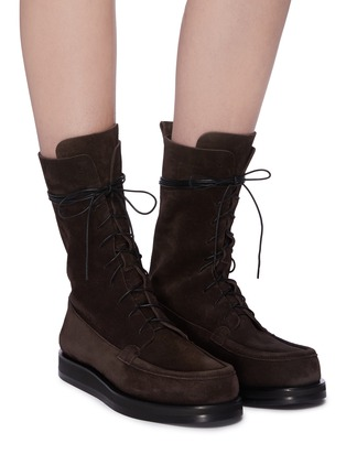 Figure View - Click To Enlarge - THE ROW - 'Patty' suede combat boots