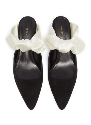 Detail View - Click To Enlarge - THE ROW - 'Coco' satin bow tie suede mules