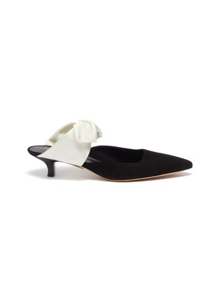 Main View - Click To Enlarge - THE ROW - 'Coco' satin bow tie suede mules