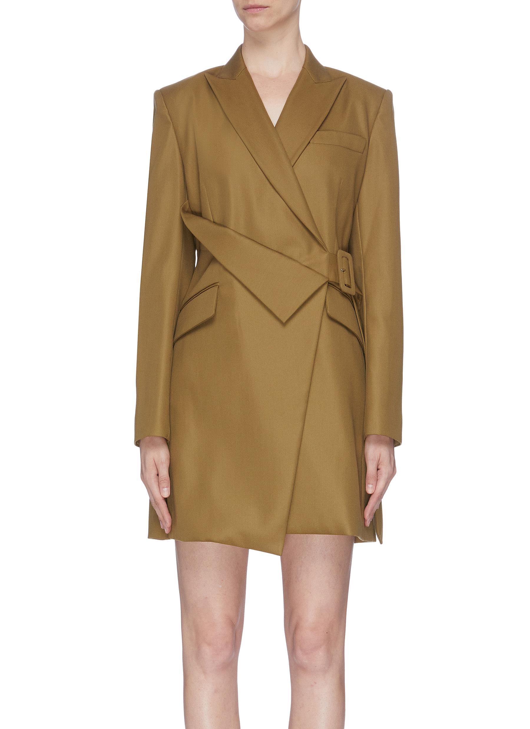 Asymmetric waist belt blazer dress by Comme Moi
