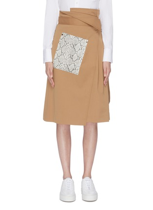 Main View - Click To Enlarge - COMME MOI - Snakeskin panel wrap midi skirt