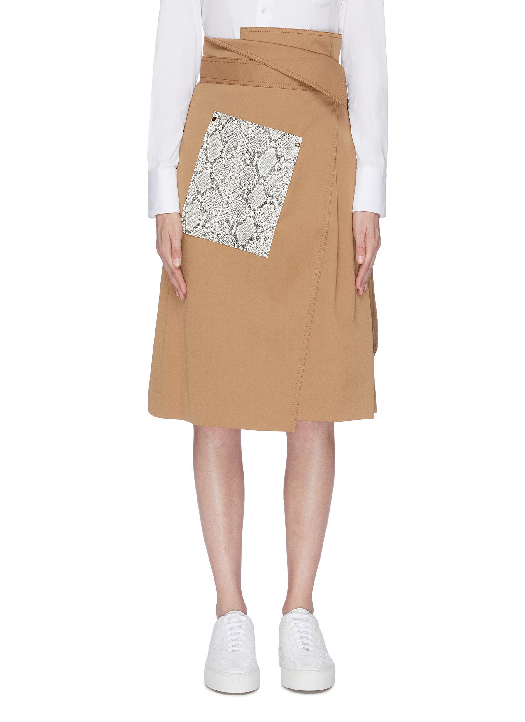 Snakeskin panel wrap midi skirt by Comme Moi