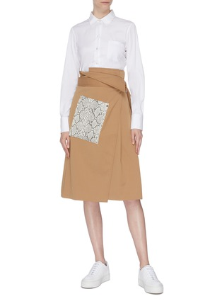 Figure View - Click To Enlarge - COMME MOI - Snakeskin panel wrap midi skirt