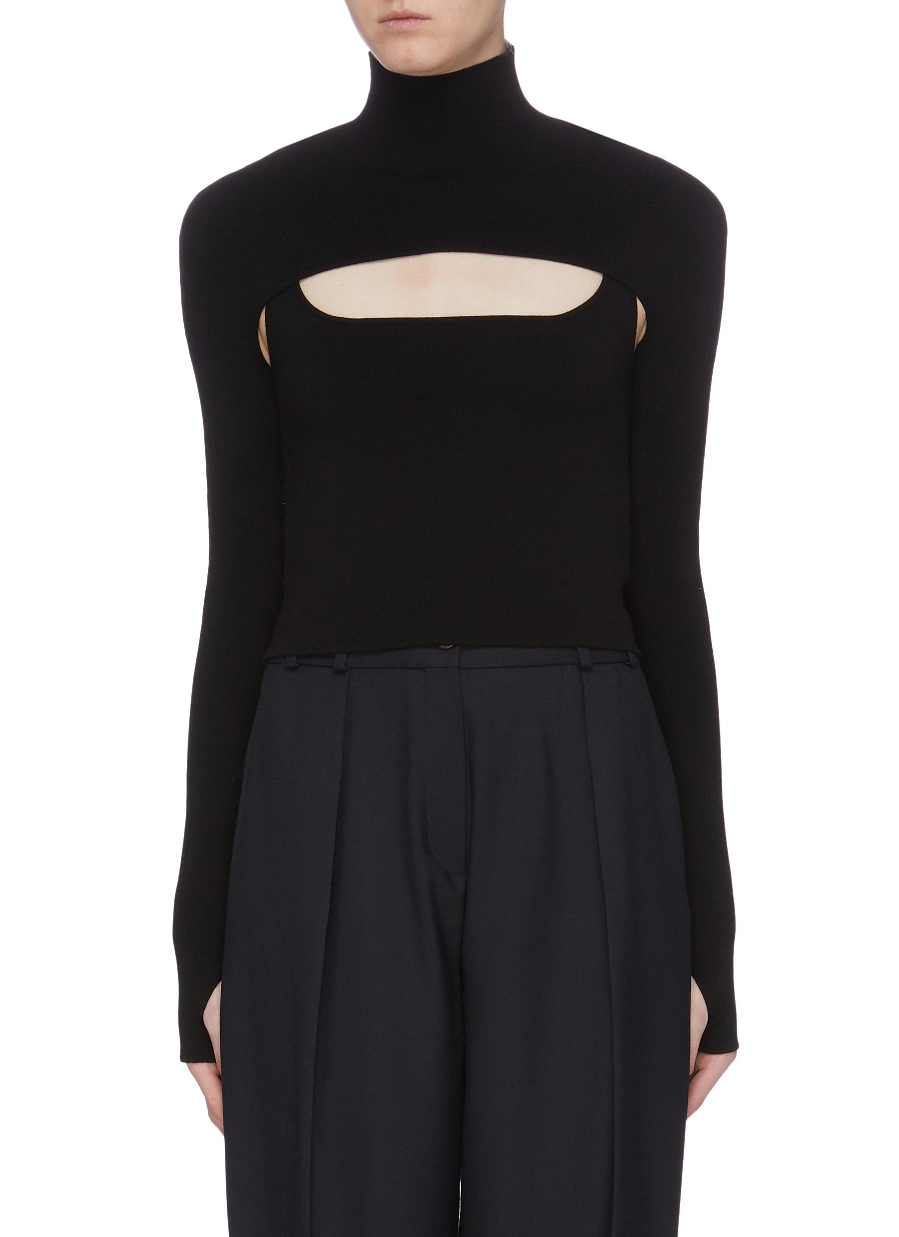 Stirrup cutout yoke cropped turtleneck top by Dion Lee