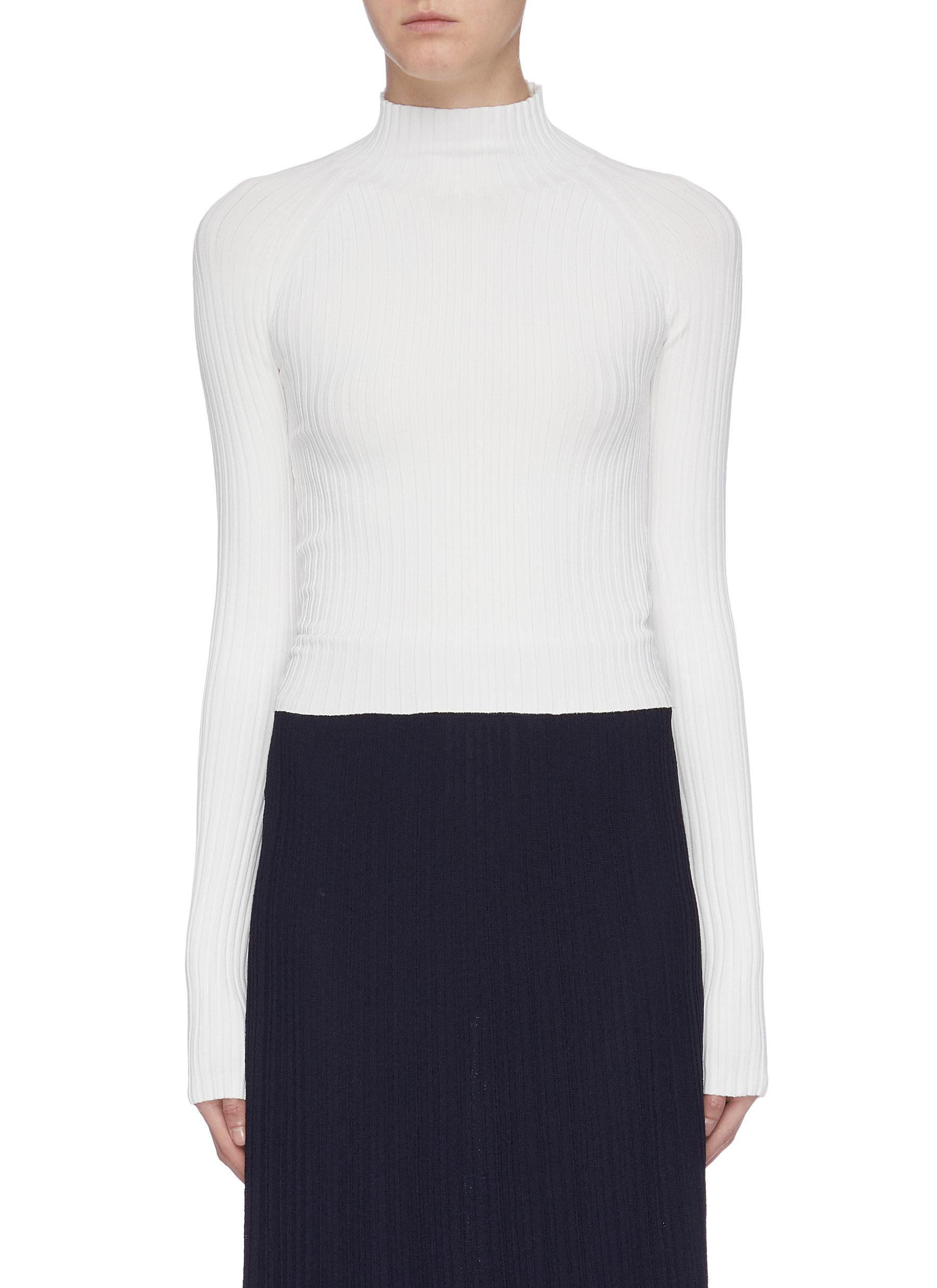 Twist cutout back rib knit cropped top by Dion Lee